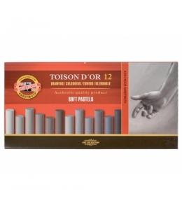 сухие мягкие пастельные мелки d'or, 12 штук серые оттенки 01531