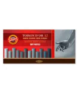 сухие мягкие пастельные мелки toison d'or, 12 штук коричневые оттенки 01530