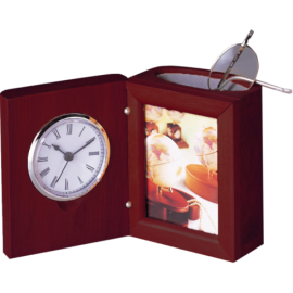 Прибор настольный Bestar (часы, фоторамка, подставка), красное дерево