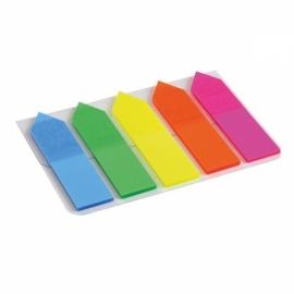 Закладки пластиковые Axent 2440-02-A, 5х12х50 мм, 125 штук, неоновые цвета, стрелка