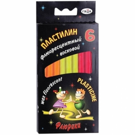 """Пластилин флуоресцентный """"Флюрікі"""",  6цв. коробка, 76г."""