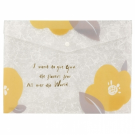 Папка на кнопке Axent Fleur 1495-12-A, А4+,горчичная