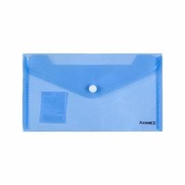 Папка-конверт на кнопке Axent 1414-20-A, DL, прозрачная, ассортимент цветов