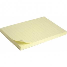 Блок бумаги с липким слоем 100х150 линия, пастель желтая / 2330-01-А