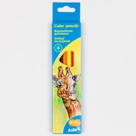 """Карандаши цветные KITE """"Животные"""", 6 цв., шестигранная форма корпуса, толщина грифеля 3 мм."""