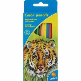 """Карандаши цветные двусторонние KITE """"Животные"""", 12 шт./24 цвета, шестигранная форма корпуса, толщина грифеля 3 мм."""