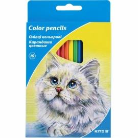 """Карандаши цветные KITE """"Животные"""", 18 цв., шестигранная форма корпуса, толщина грифеля 3 мм."""