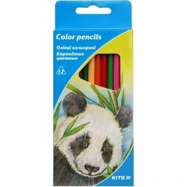 """Карандаши цветные KITE """"Животные"""", 12 цв., трехгранная форма корпуса, толщина грифеля 3 мм."""