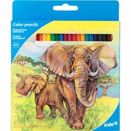 """Карандаши цветные KITE """"Животные"""", 24 цв., шестигранная форма корпуса, толщина грифеля 3 мм."""