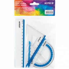 Набор k17-280: линейка 15 см, 2 треугольника, транспортир. Упаковка - полибег. Ассорти