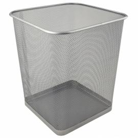 Корзина для бумаг квадратная Axent 2124-03-A, металлическая сеточка, серебристая