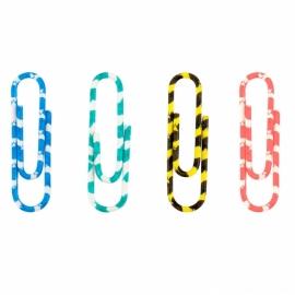 Скрепки цветные Axent  полосатые, 28 мм, 100 шт, пластиковый контейнер