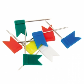"""Кнопки-гвоздики Axent  цветные """"флажки"""", 30 штук, пластиковый контейнер"""