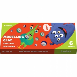 "Пластилин восковой Kite ""Jolliers"", 120 гр., 06 цв., картонная упаковка - слайдер"