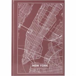 Книга записная Axent Maps New York 8422-543-A, A4, 210x295 мм, 96 листов, клетка, твердая обложка, розово-коричневая