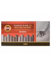Сухие мягкие пастельные мелки D'OR, 12 штук серые оттенки