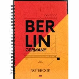 Блокнот на спирали Axent Flags Berlin 8032-05-A, A5, 145x210 мм, 96 листов, клетка, твердая обложка