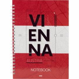 Блокнот на спирали Axent Flags Vienna 8032-07-A, A5, 145x210 мм, 96 листов, клетка, твердая обложка
