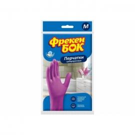Перчатки резиновые, Фрекен Бок, универсальные розовые L/S/M