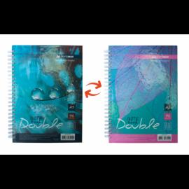 Книга записная DOUBLE, А5, 96 л., Клетка, твердая ламинированная обложка, ассортимент цветов