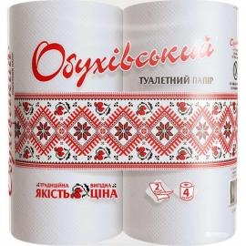 Туалетная бумага Обухов, 2-слой., белая, 4 шт/уп.,  укр.орнамент