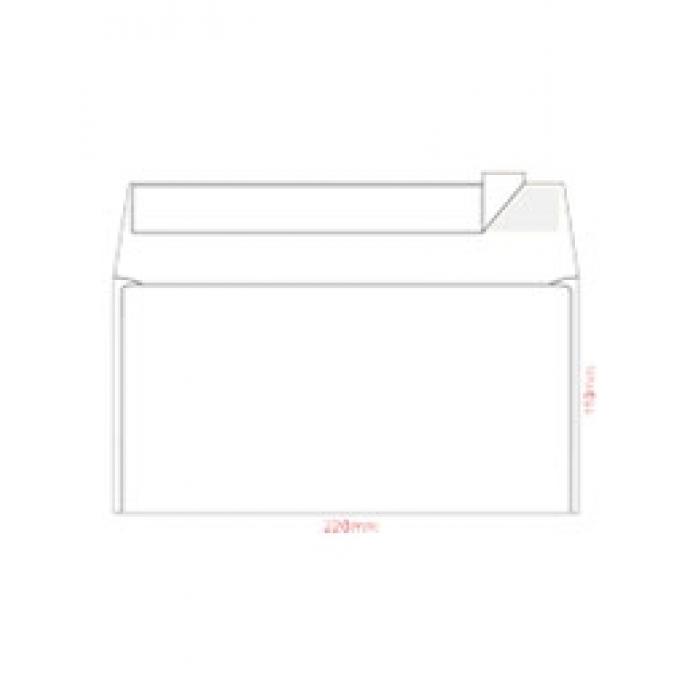 Конверт Е65, белый с отрывной лентой