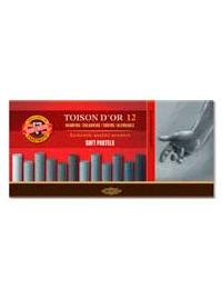 Сухие мягкие пастельные мелки TOISON D'OR, 12 штук коричневые оттенки